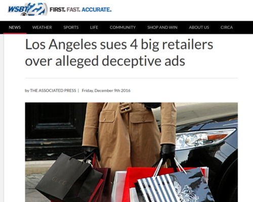 Los Angeles sues 4 big retailers over alleged deceptive ads   WSBT
