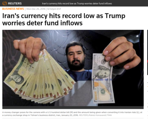 Iran s currency hits record low as Trump worries deter fund inflows   Reuters