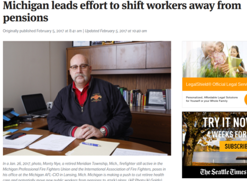 Michigan leads effort to shift workers away from pensions   The Seattle Times