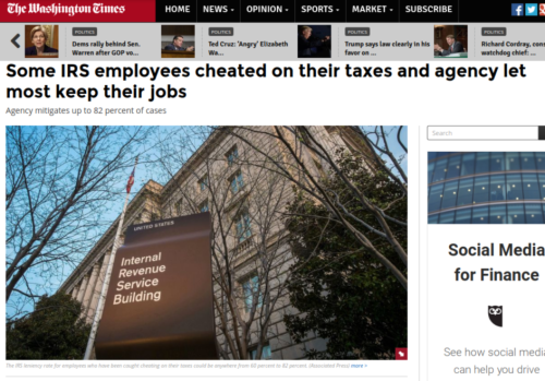IRS employees who cheated on their taxes allowed to keep jobs   Washington Times